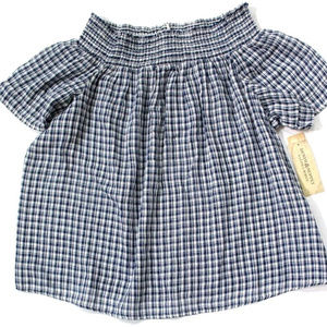 Ralph Lauren Plaids Off-Shoulder Smocked Blouse M